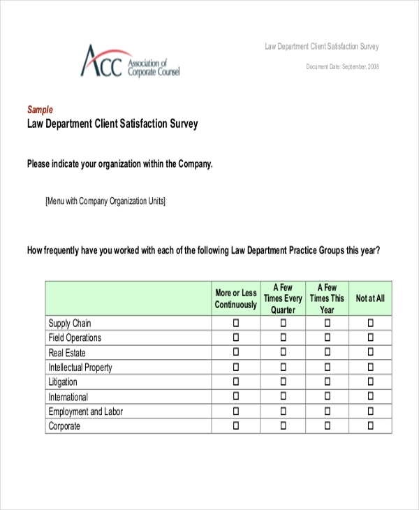 Sample Client Satisfaction Questionnaire Form - 8+ Free Documents