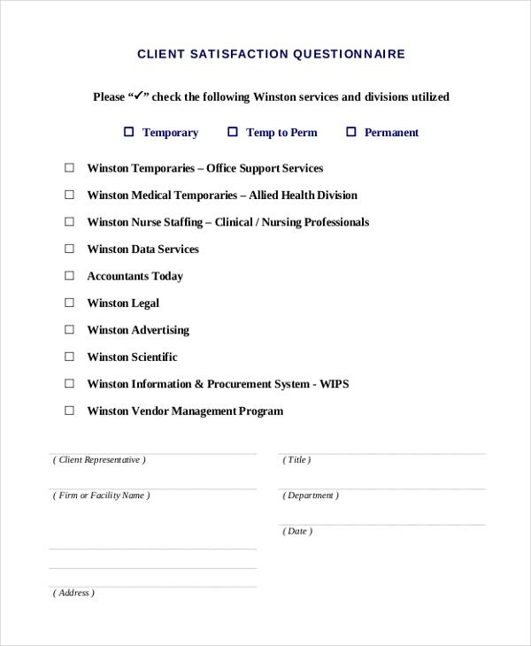 services client questionary form