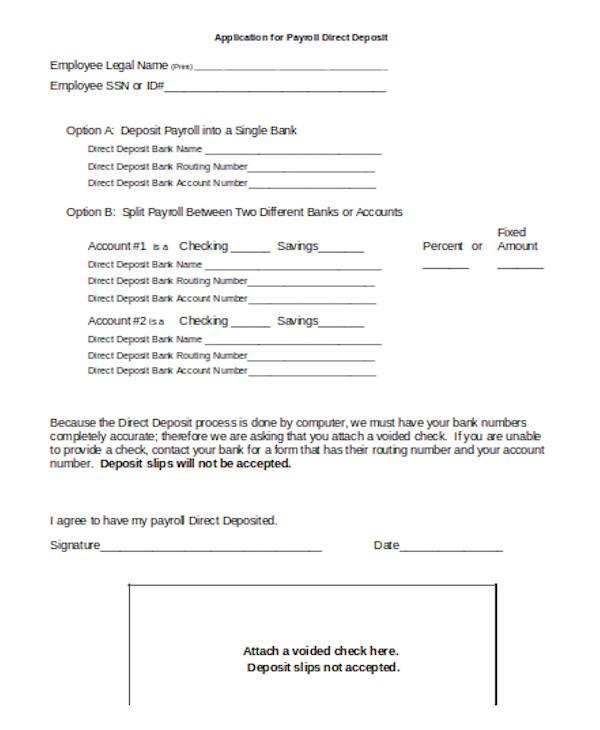 standard payroll direct deposit form