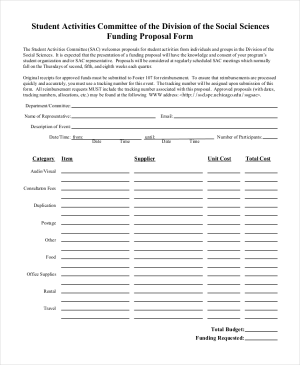 student activities committee funding proposal form