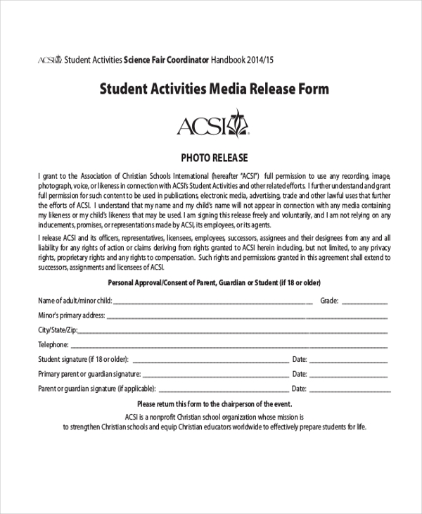 Sample Media Release Form 10 Free Documents in PDF – Media Release Form