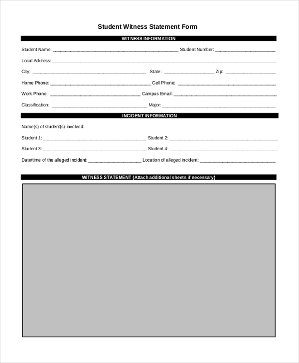 Sample witness statement form 10 free documents in word pdf thecheapjerseys Image collections