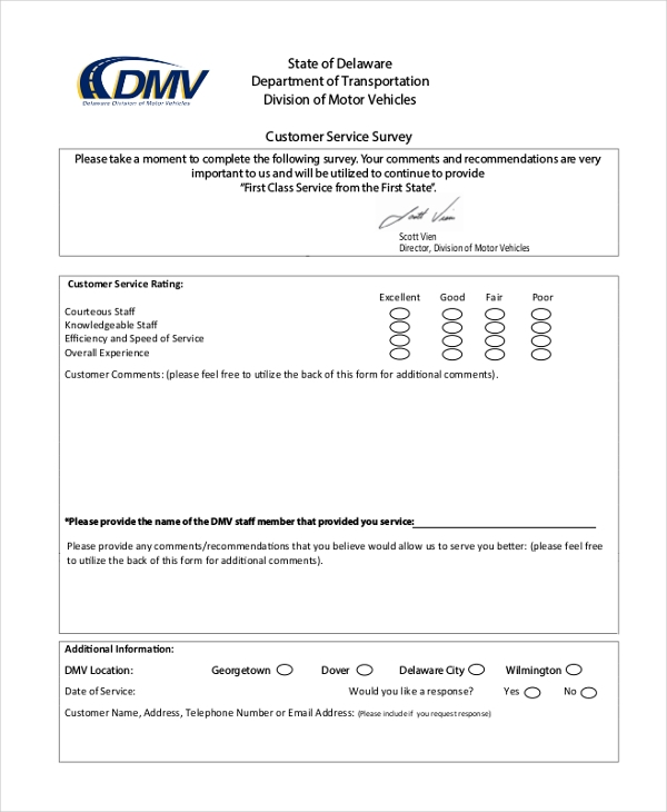 transport customer service servey form