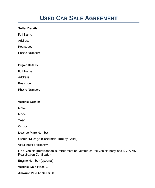 Sample Car Sale Contract Forms   Free Documents In Pdf Doc