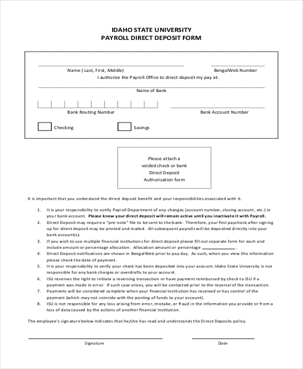 Sample Payroll Direct Deposit Form   Free Documents In Word Pdf