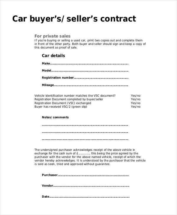 Used Car Sale Receipt  Proof Of Receipt Form