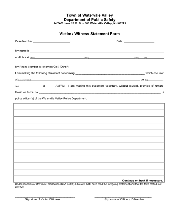 witness form template - 28 images - best photos of statement ...