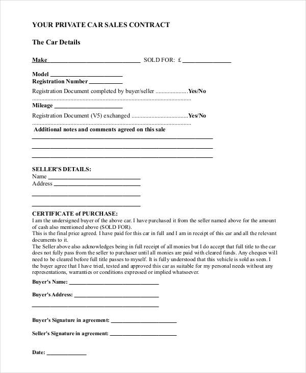 Sample Car Sale Contract Forms 8 Free Documents in PDF Doc – Vehicle Sale Agreement Template