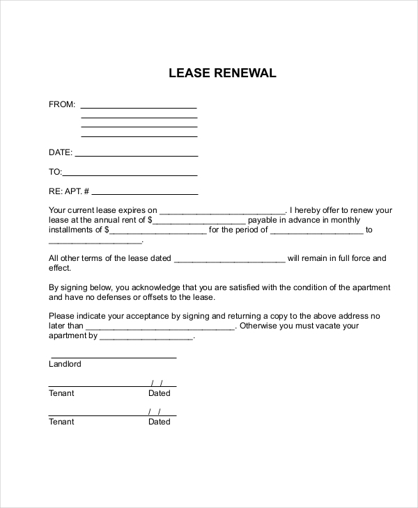Sample Apartment Lease Forms   Free Documents In Pdf Word