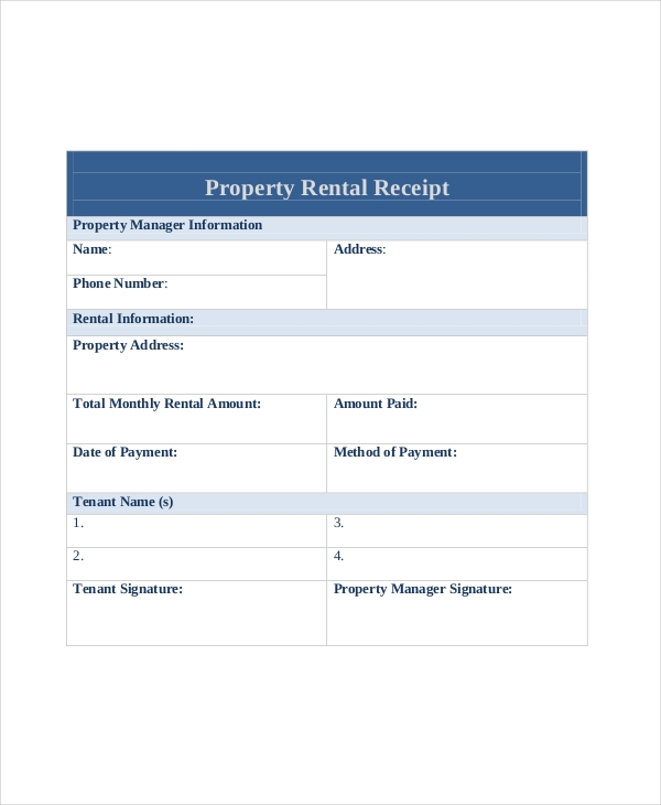 Sample Rent Receipt Form 10 Free Documents in PDF – Rent Reciepts