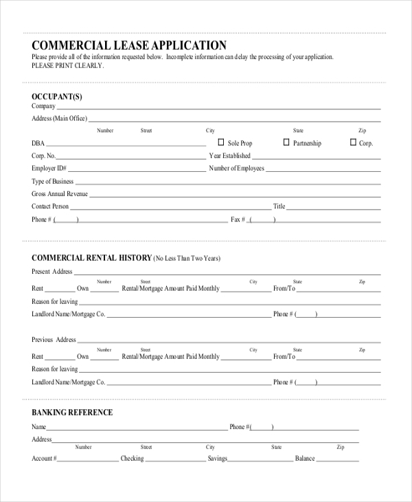 application for commercial lease form