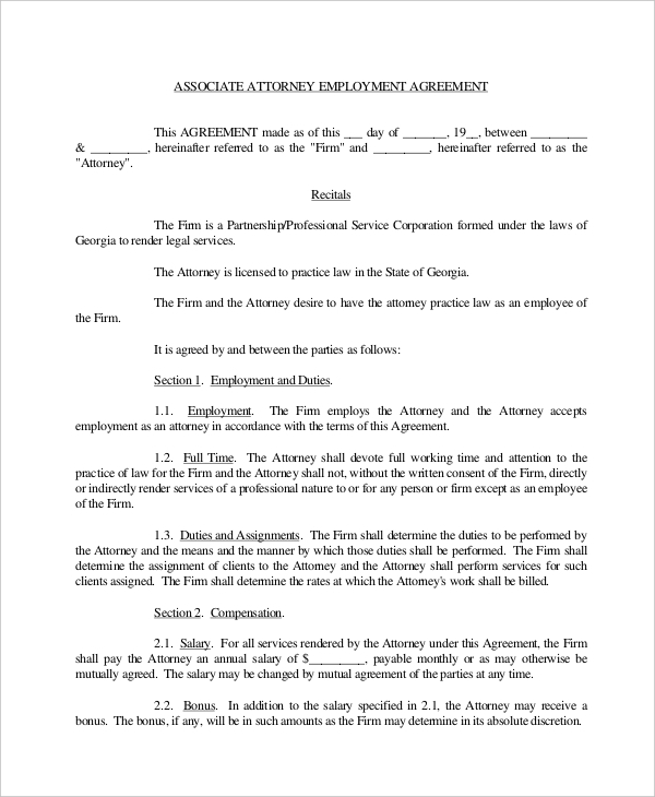 Attorney Employment Agreement Form  Mutual Agreement Contract Template