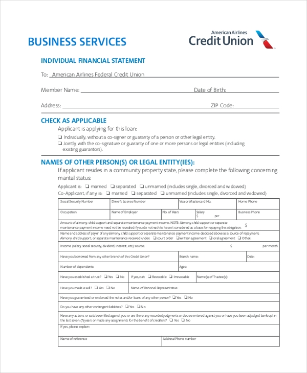 Sample Business Financial Statement Forms   Free Documents In Pdf