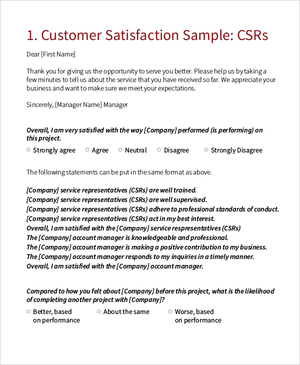 Sample Customer Satisfaction Survey Forms 10 Free Documents in – Sample Customer Satisfaction Survey