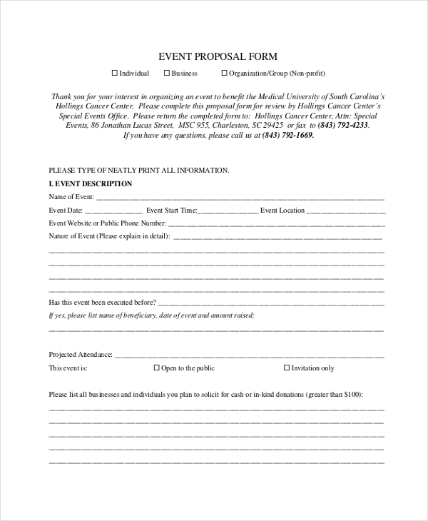 Sample Event Proposal Forms 16 Free Documents in PDF – Event Proposals Samples