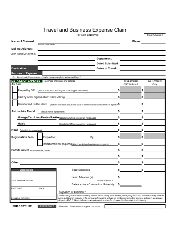 canadian business expense form