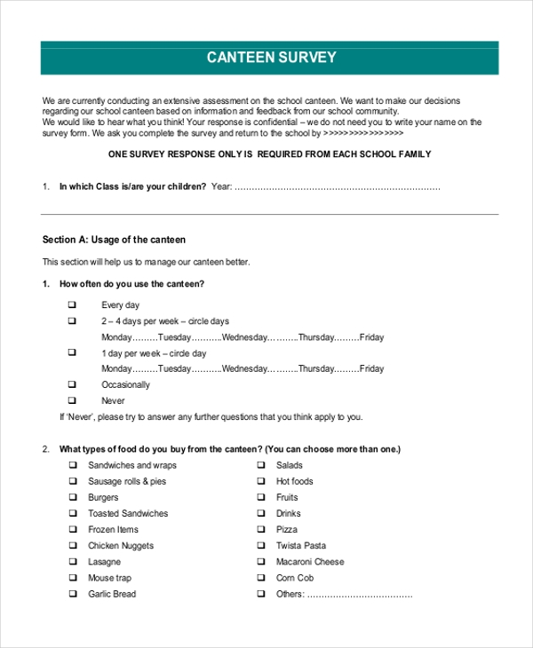 canteen survey form