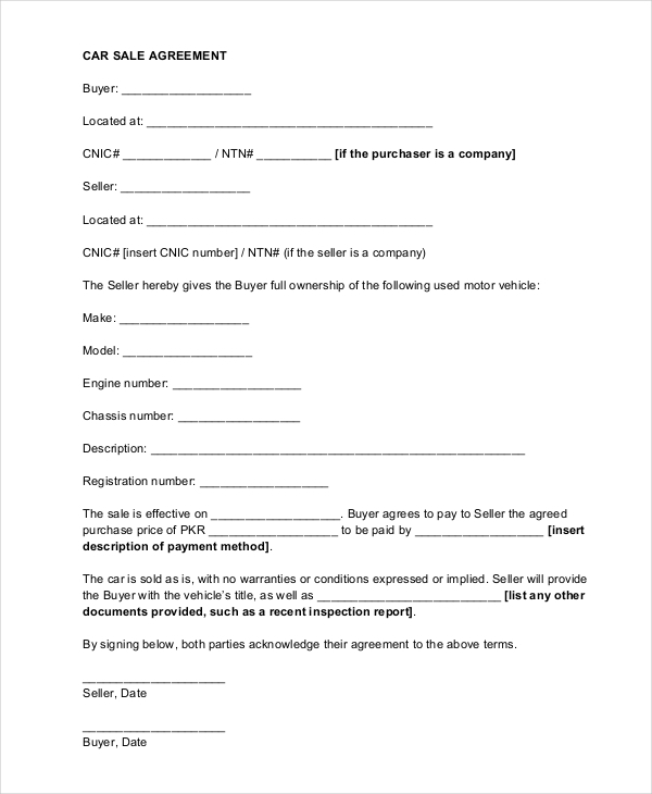 Doc728950 Car Selling Contract Template The Used car Sales – Selling a Car on Payments Contract