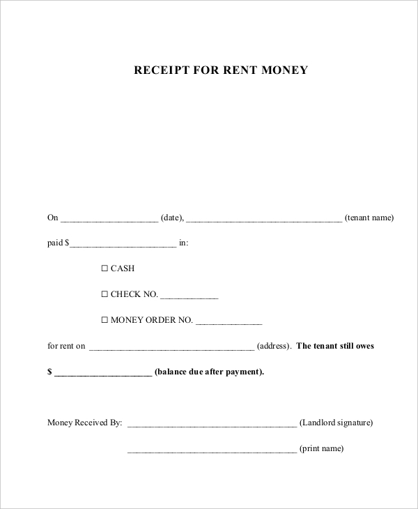 Sample Rent Receipt Form   Free Documents In Pdf