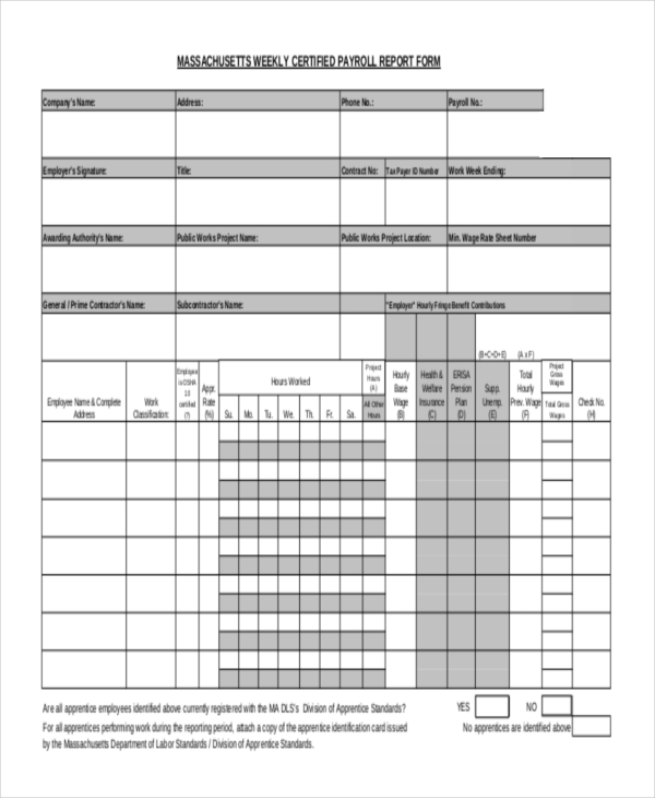 Sample Payroll Register Form   Free Documents In Pdf