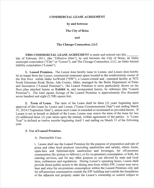Commercial Lease Agreement Sample. 7+ Commercial Lease Agreement