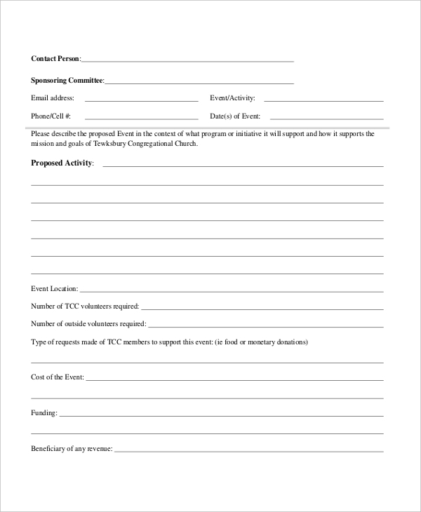 church event proposal form