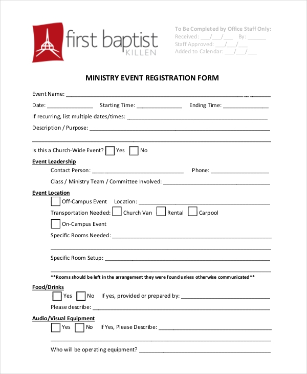 Sample Event Registration Forms  Sample Forms