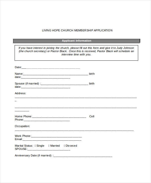 12 sample membership application forms sample forms church membership application form thecheapjerseys Choice Image