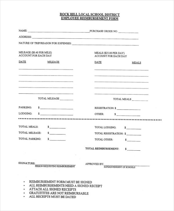 classified reimbursement form