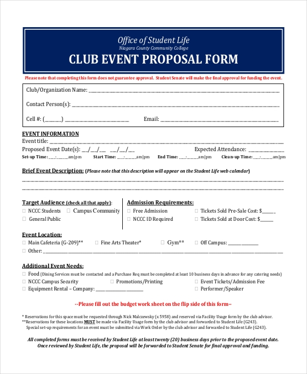 club event proposal form