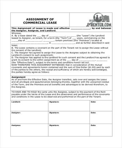 assignment of lease form