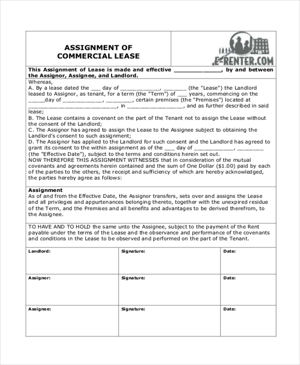 commercial assignment of lease form1