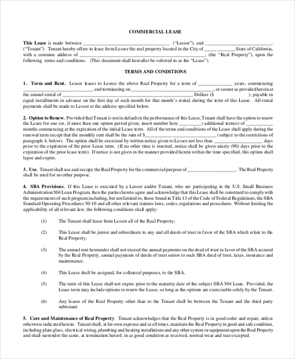 Realestate For Rent: FREE 9+ Sample Commercial Lease Forms In PDF