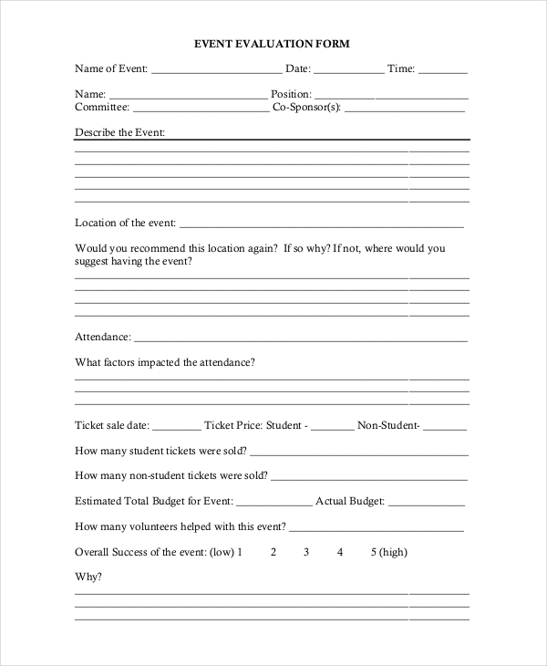 community event evaluation form