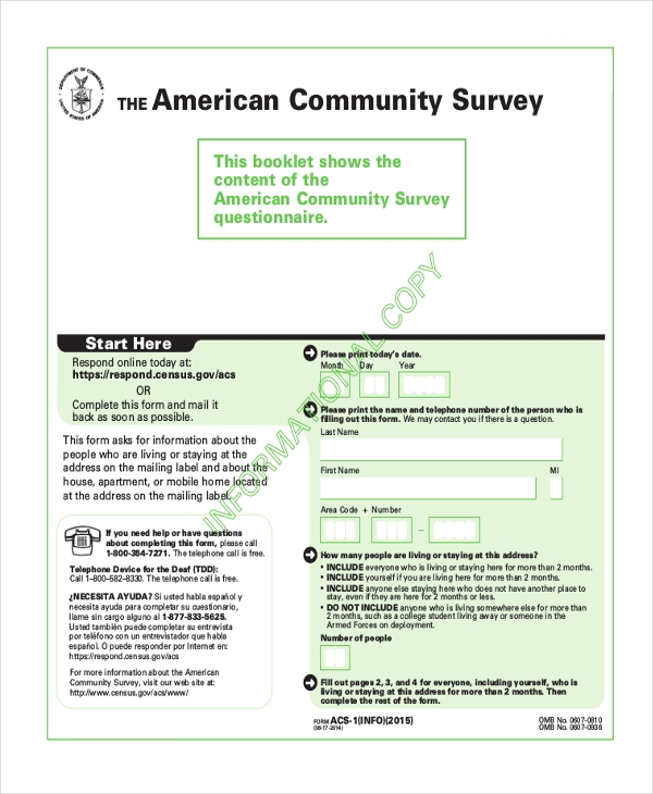 community survey form