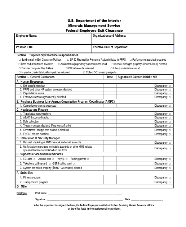 Sample Employee Clearance Forms  Sample Forms