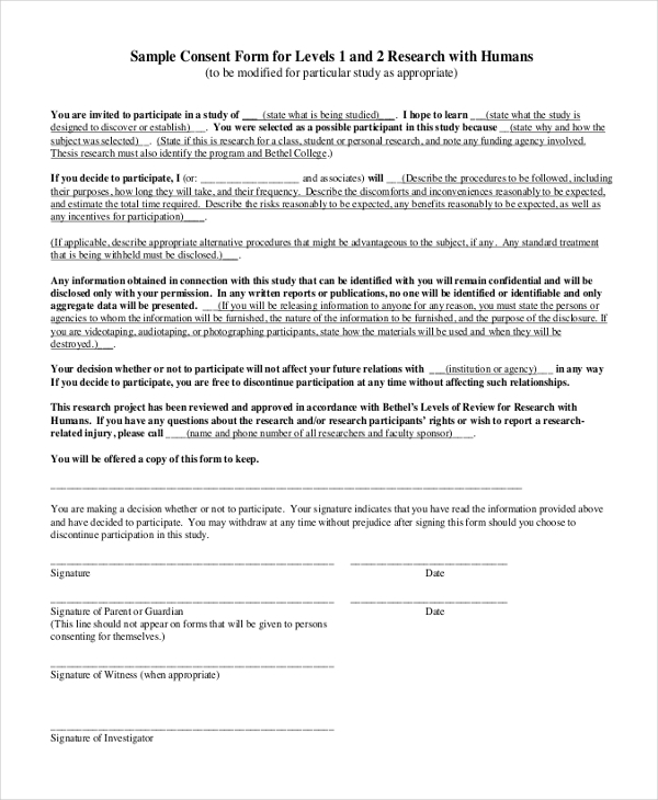 Sample Survey Consent Forms 8 Free Documents in PDF Word – Survey Consent Form