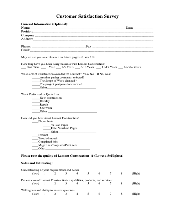 sample customer satisfaction survey form