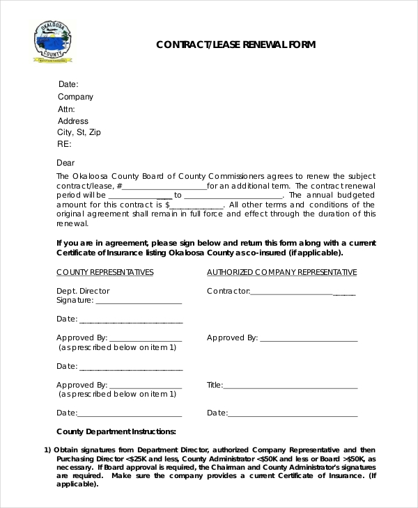 Contract Lease Renewal Form