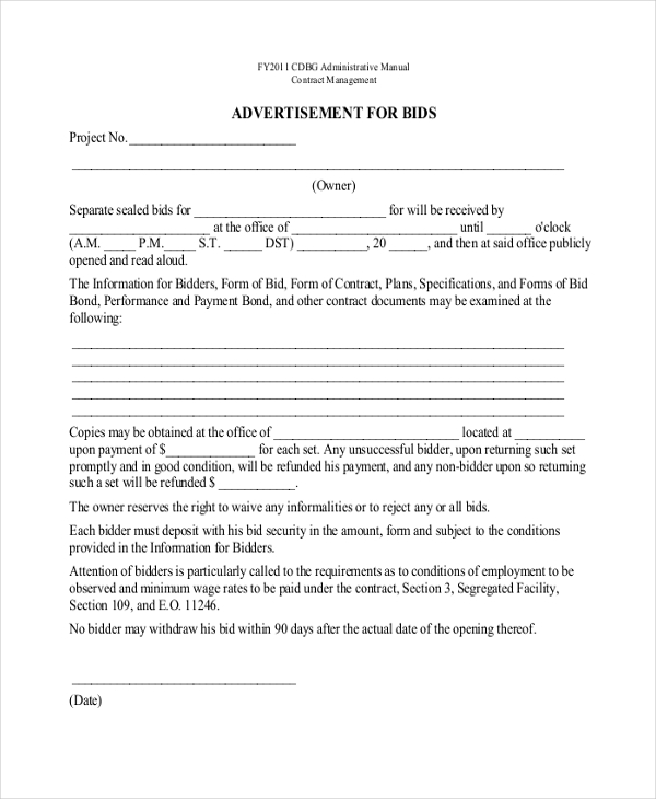 contractor bid proposal forms