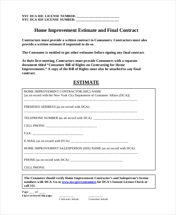 contractor estimate form