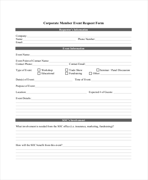 corporate event request form