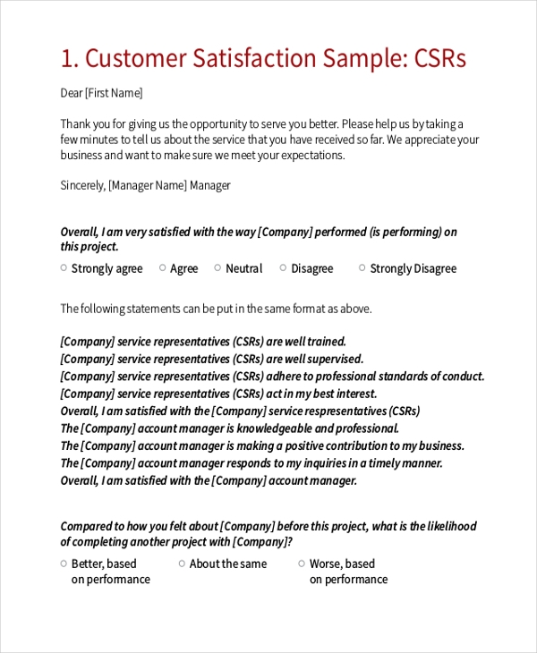 Sample Customer Satisfaction Survey Form  Free Customer Satisfaction Survey Template