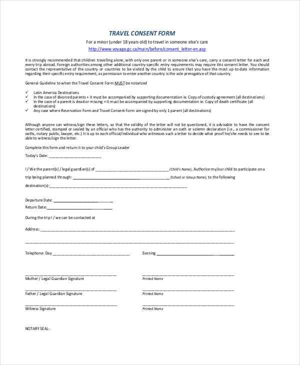 permission to travel with minor Sample Travel Consent Forms - 10  Free Documents in PDF, Doc