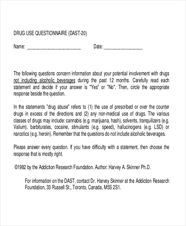 drug questionnaire survey