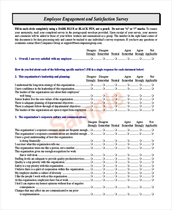 Sample Satisfaction Questionnaire Form   Free Documents In