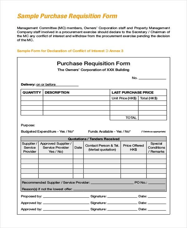 Sample Purchase Requisition Forms - 8+ Free Documents In Pdf, Word