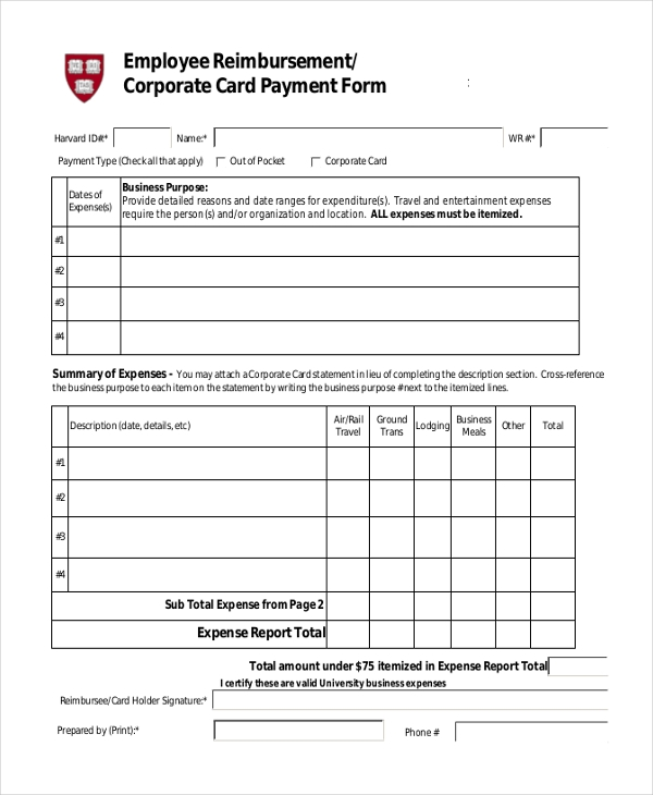 employee reimbursement forms Sample Employee Reimbursement Form - 8  Free Documents in Excel, PDF