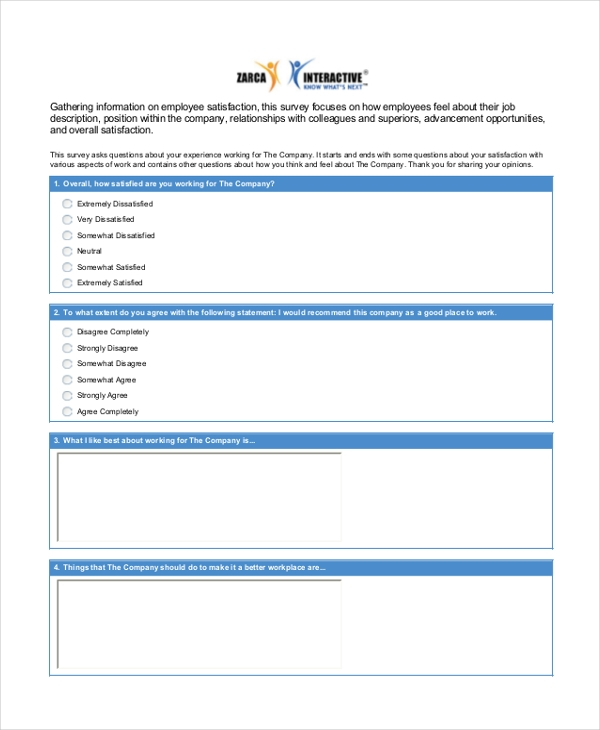 employee staff satisfaction survey form