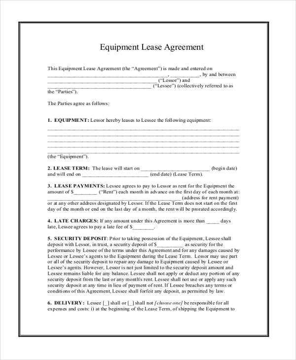 Sample Equipment Lease Agreement Template Alberta Commercial – Basic Lease Agreements